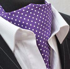 Cravat /& Hanky.Premium Cotton. Cravat Ascot UK Made Blue with Brown Polka Dot