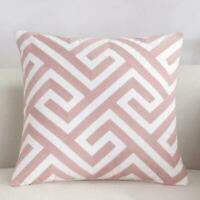 Maze Pink White Square Scandinavian embroidery Indoor cushion cover 18'