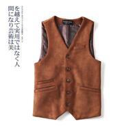 Retro Mens Dress Vest Jacket Gentleman Suede Formal V-Neck Waistcoat Slim Casual