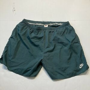 Vintage Nike Nylon Spell Out Swim Trunks Sz XL Green/Black 1990s
