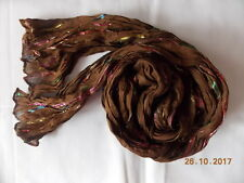 Crash-Schal, Braun mit Glitzer Streifen, Viskose, 20 x 175 cm, Resteverkauf