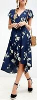 Free People Lost In You Midi Dress Button Up High Low Maxi Floral Navy OB770113