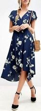 People OB770113 Lost in You Floral Wrap Style Midi Dress Blue Combo L