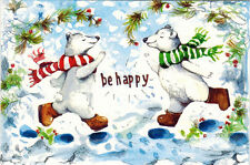 Be Happy! Polar bears run to each other Modern Russian postcard