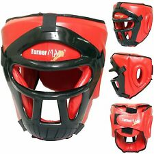 TurnerMAX Boxing Head Guard With Removable Face Mask MMA Training Red