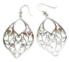 solid Sterling Silver Filigree Large drop earrings, new in pouch. UK seller.
