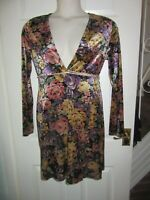 BNWT £46 UK 12 Topshop TALL Dress Wrap Plunge Floral Long Sleeve Multi Velour