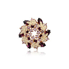 18K ROSE GOLD PLATED AND GENUINE CZ & AUSTRIAN CRYSTAL PURPLE WREATH BROOCH
