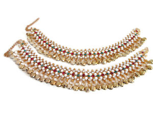 Indian Traditional Bollywood Ankle Bracelet Multi Color Anklets Costume Jewelry