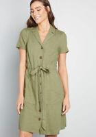 Modcloth Enthralled Again Green Tie Waist Short Sleeve Shirt Dress Linen Size M