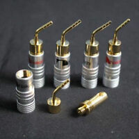16pcs Speaker Wire 24k Gold-plated Connectors Nakamichi Pin Banana Plug Brass