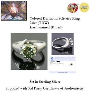 2.8ct (TDW) Fancy Blue Diamond Solitaire Ring - Size 9 - Sterling Silver + COA