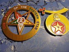 2 Shriner Mason Aluminum Emblems~Stick On Car/Truck/Boat/RV