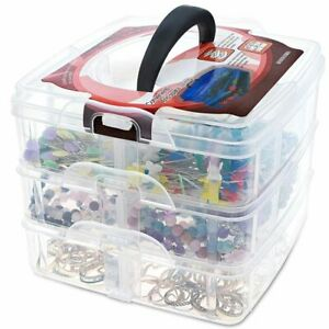 3 Tier Plastic Craft Storage Organizer Box Case with Adjustable Compartments