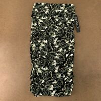 New Mix Women's Size Small Black Green Floral Print Ruched Sides Midi Skirt NWT