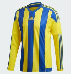 Adidas Striped 15 mens long sleeve jersey yellow blue S17194 climacool football