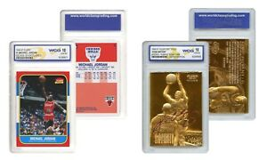 KOBE Bryant Gold & Michael JORDAN Decade Fleer Rookie Cards Set - Graded Gem 10