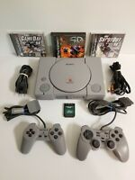 Sony PlayStation PS1 Gray Console SCPH-9001 2 Controllers 3 Games Tested