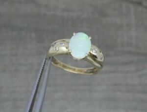 Stunning 9ct Gold Natural Electric Green Australian Opal & Diamond Ring UK M
