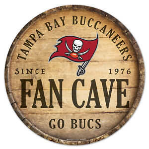 Tampa Bay Buccaneers Round Wooden Sign 13 13/16in NFL Football Wood One Cave