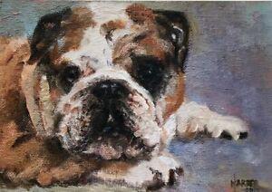 SALE British Bulldog Signed Dog Print by Susan Harper Unmounted