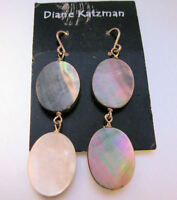 DIANE KATZMAN Designer Abalone Shell Drop Dangle Earrings