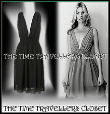 KATE MOSS TOPSHOP RARE GRECIAN INSPIRED BLACK PLUNGE V DRESS UK 8 10 12