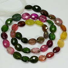 Pink Green Yellow Tourmaline Faceted Oval Nugget Beads 15.5 inch strand