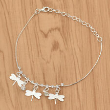 Women Fashion Dragonfly Ankle Chain Silver Crystal Adjustable Summer Foot Decor