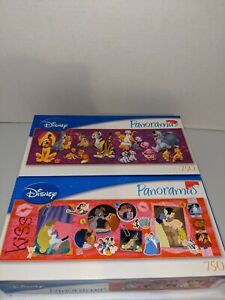 Disney Panoramas Puzzle Lot of 2 - Kisses & Disney Cats/Dogs (750 pc each)