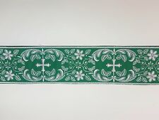 Vintage Religious Cross Design White on Green Banding Rayon&Cotton 3-1/4''  C110