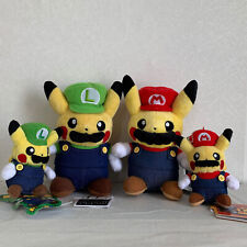 "4X Pokemon Mario & Luigi Pikachu Plush Soft Toy Doll Keychain Teddy 8.5"" & 5"""