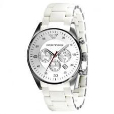 EMPORIO ARMANI Sport White Silicone Silver Chronograph Dial Watch AR5859