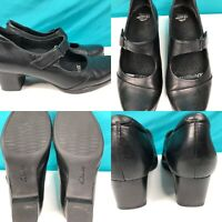 Womens CLARKS Black Leather Mary Janes Loafers Pumps Shoes SIZE 8 M EU 39 UK 5.5