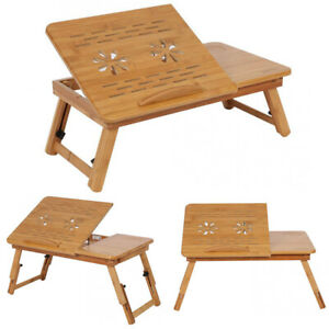 Bamboo Folding Laptop Stand Wood Bed Desk Sofa Table Breakfast Tray w/ Drawer UK