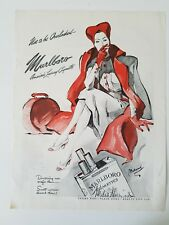 1942 Marlboro cigarettes woman smoking Red Hat luggage Bolegard art ad