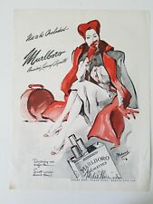 1942 Marlboro cigarettes woman smoking Red Hat luggage Bolegard art ad