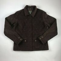 Eddie Bauer Women's Quilted Jacket Brown Pockets Lined Long Sleeve Tall L
