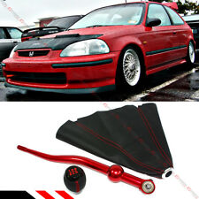FOR 1990-01 ACURA INTEGRA RED DUAL BEND SHORT SHIFTER +SHIFT KNOB + LEATHER BOOT