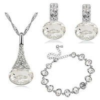 Diamante White Bridal Jewellery Set Earrings Bracelet and Necklace Pendant S811
