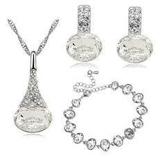 Diamante White Bridal Jewellery Set Earrings Bracelet and Necklace Pendant S811
