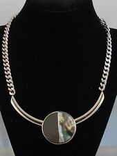Kenneth Cole NY Silver LUNAR ECLIPSE Black Lip Shell Circle Frontal Necklace $52