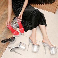Sexy Women Clear Super High Heel Stilettos Slingback Platform Sandals Nightclub