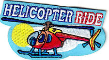 """HELICOPTER RIDE"" - IRON ON EMBROIDERED APPLIQUE PATCH - Aviation, Helicopters"