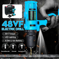 200W 48VF Electric Wireless Cordless Drill Screw Driver High Torque 25+1 Speed