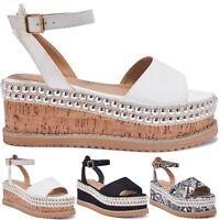 100% VEGAN Truffle Branded Ladies Womens Flatform Wedge Open Toe Sandals Size 3+