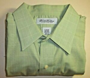 BROOKS BROTHERS 17/34-35 Green Check Point Collar No Iron Cotton Perfect 72