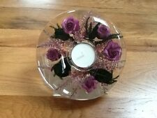 GLASS CANDLE HOLDER WITH FLORAL DESIGN (purple)