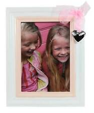 Shabby White Baby Pink Photo Picture Frame With Organza Bow & Heart - Large