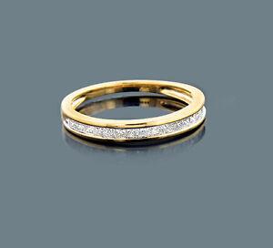 Ring Prinzess Diamanten 10 Karat 410 Gelbgold Wesselton 0,74 Karat Neu